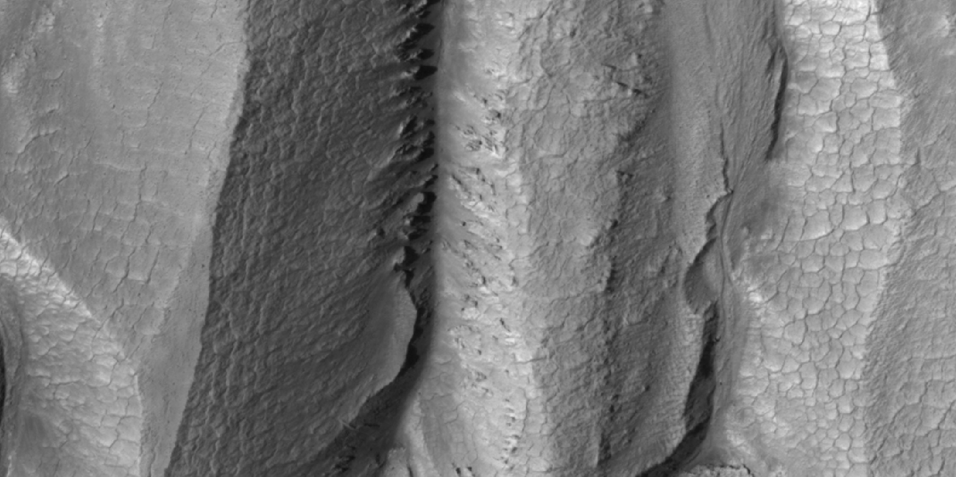 "Close-up of gully alcove showing ""gullygons"" (polygonal patterned ground near gullies), as seen by HiRISE under HiWish program"