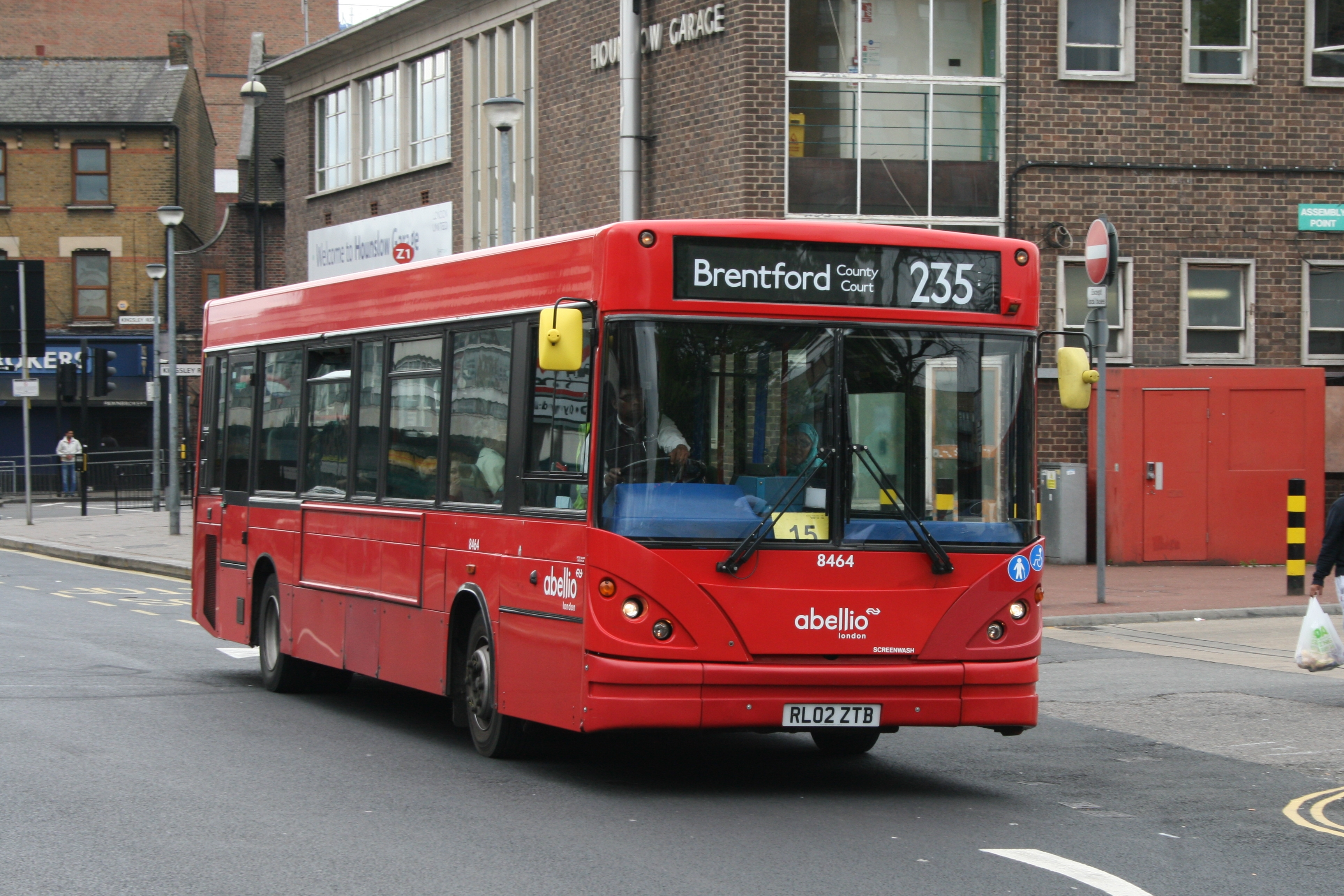 File:Abellio London 8464 on Route 235, Hounslow Bus Garage (17830237238).