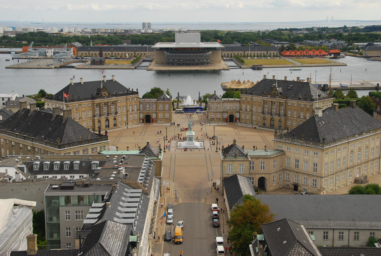 View of the Amalienborg Palace and the Copenhagen Opera House, Copenhagen, Denmark [2896 x 1944]