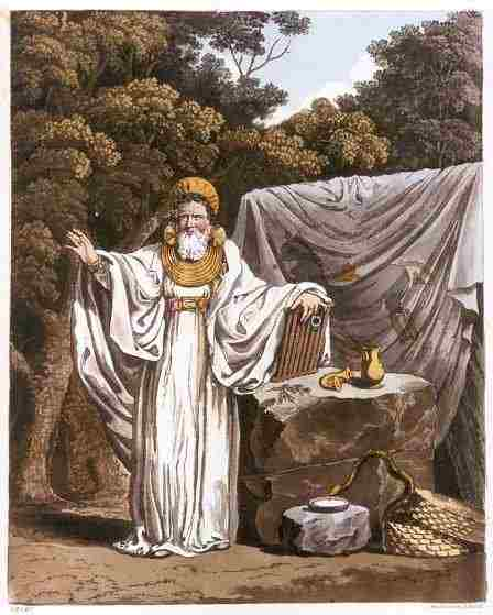 Imaginative illustration of  'An Arch Druid in His Judicial Habit'. 1815.