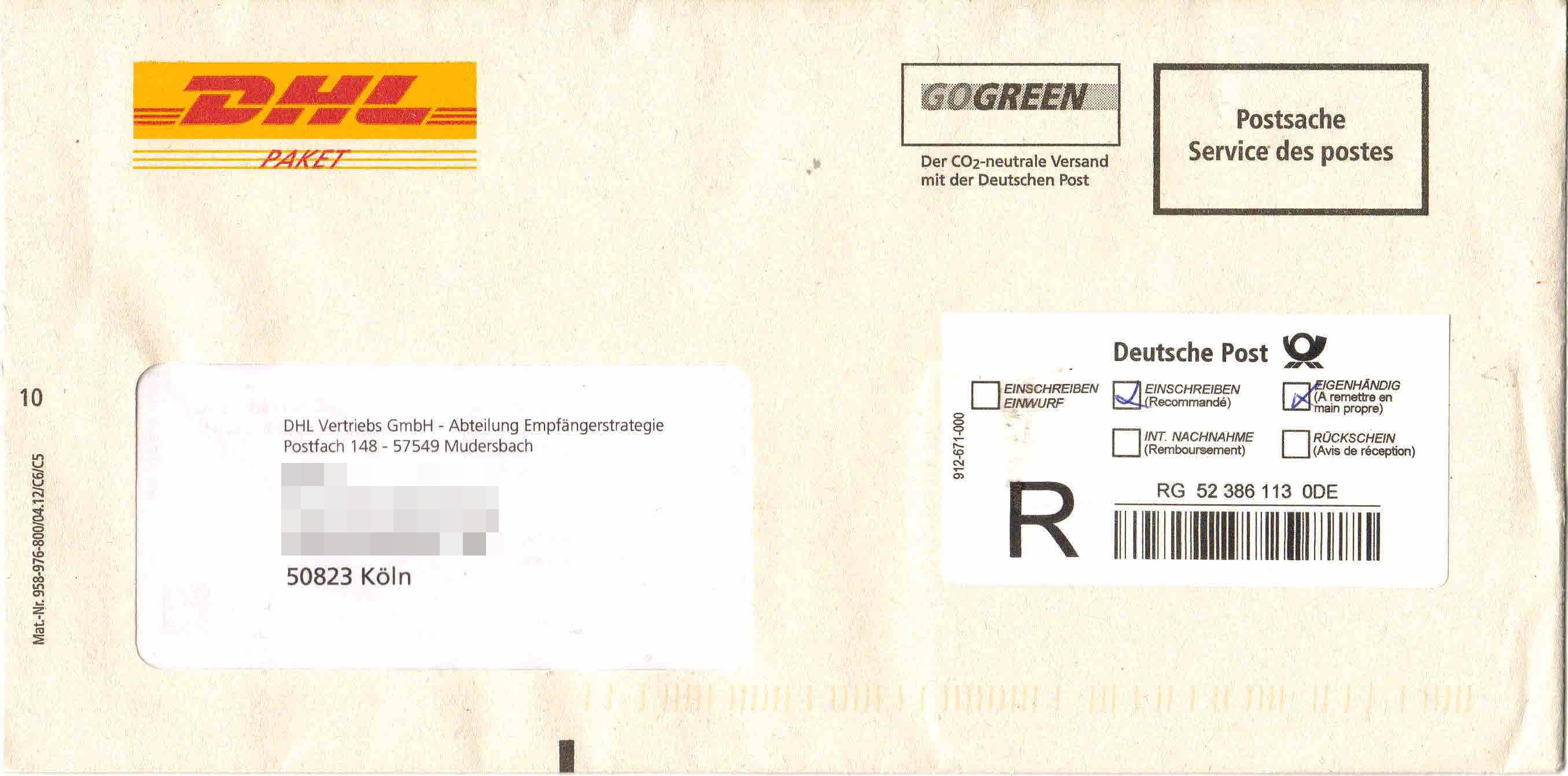 Filebriefumschlag Von Dhl Per Postsache Einschreiben