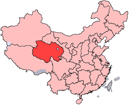 Qinghai is highlighted on this map