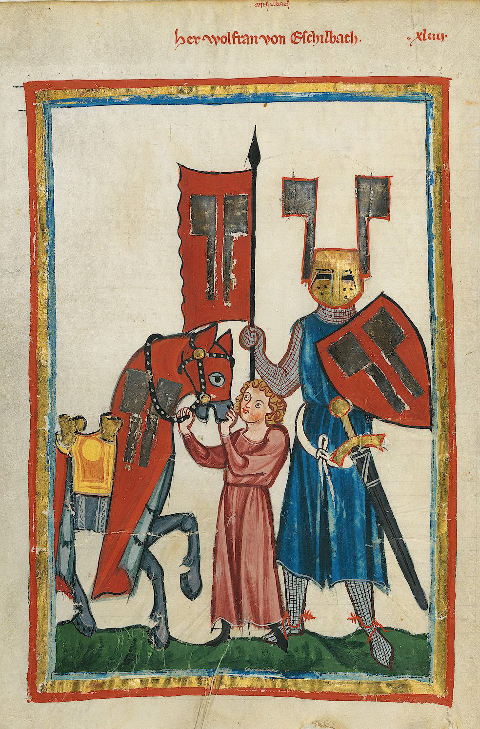 Portrait of Wolfram from the [[Codex Manesse