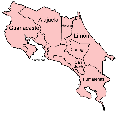 Provinces Of Costa Rica Wikipedia - Costa rica regions map