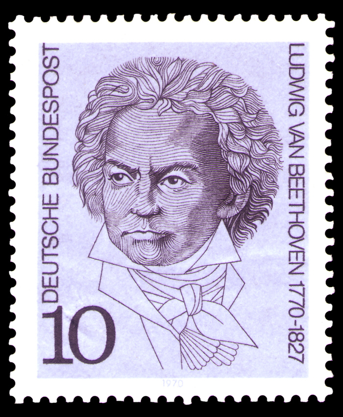 Sello postal de la República Federal Alemana emitido en 1970, en conmemoración del bicentenario del nacimiento del compositor.