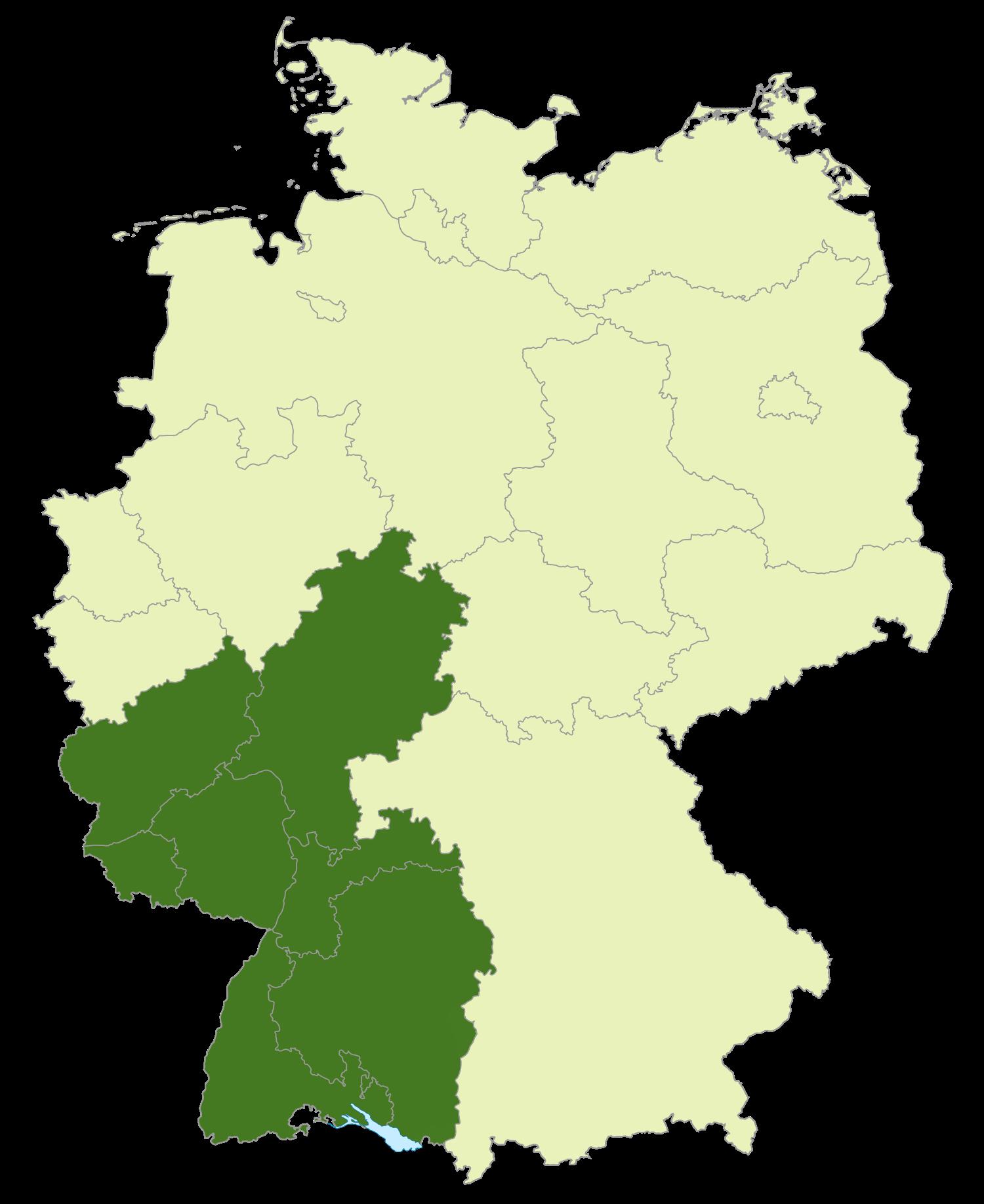 Gebiet der Regionalliga Südwest