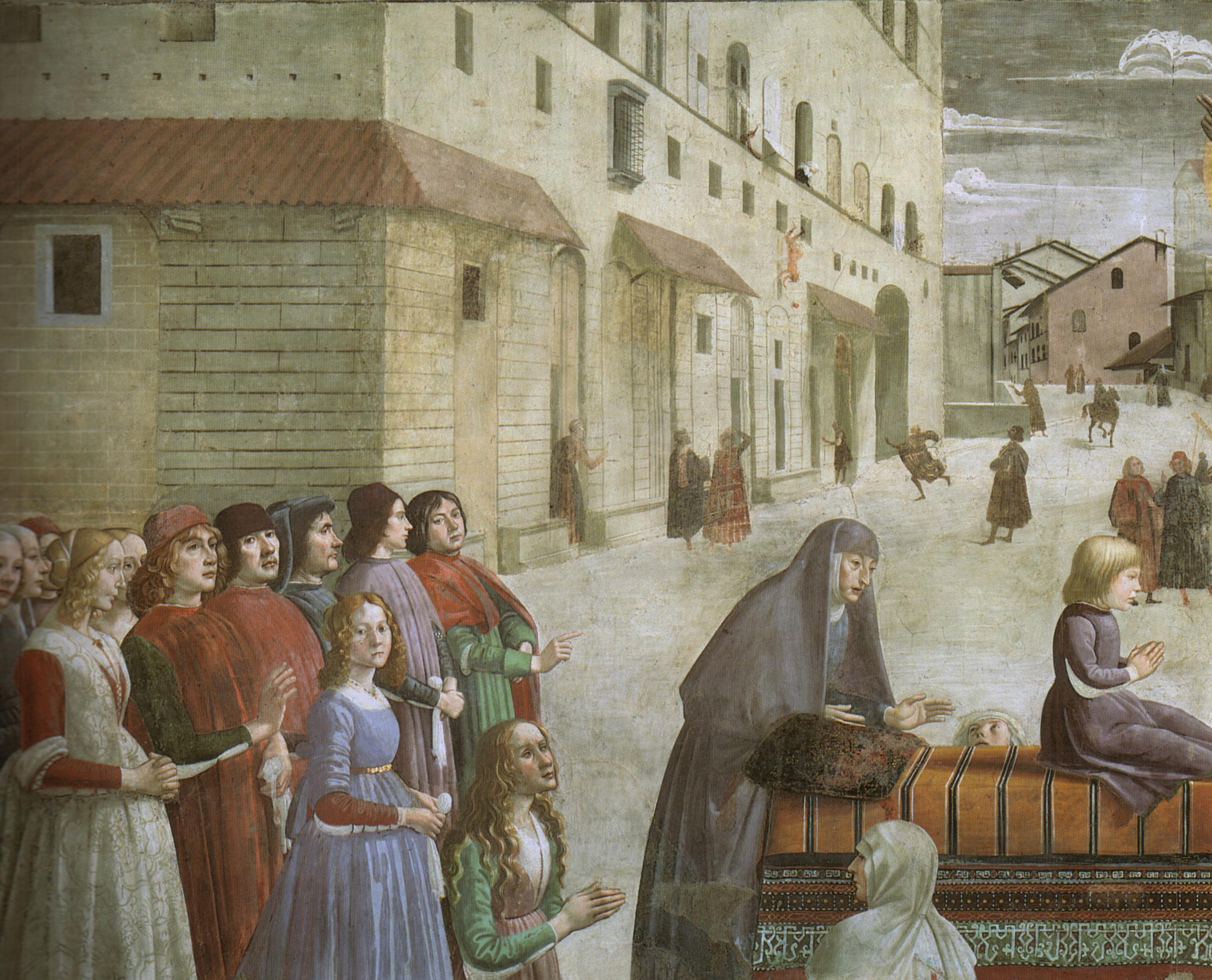 File:Domenico Ghirlandaio, Cappella Sassetti, Resurrezione del fanciullo,  dettaglio 2, 1485