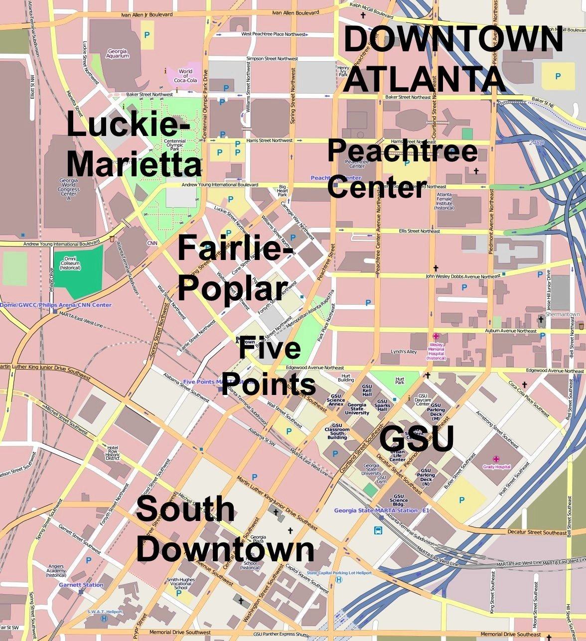 Downtown Atlanta Map File:Downtown Atlanta.   Wikimedia Commons Downtown Atlanta Map