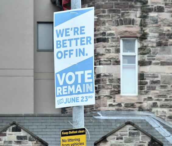 EU referendum remain poster, Belfast, June 2016 - geograph.org.uk - 4990237