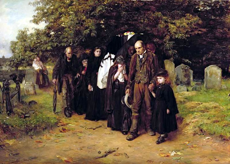 An image of a village funeral by Francis Holl. Sin-eaters were required to absorb the sins of the deceased.