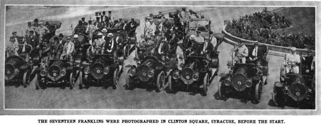 Franklin Automobile Company summer outing - 17 Franklin cars in Clinton Square, Automotive Industries, August 20, 1906