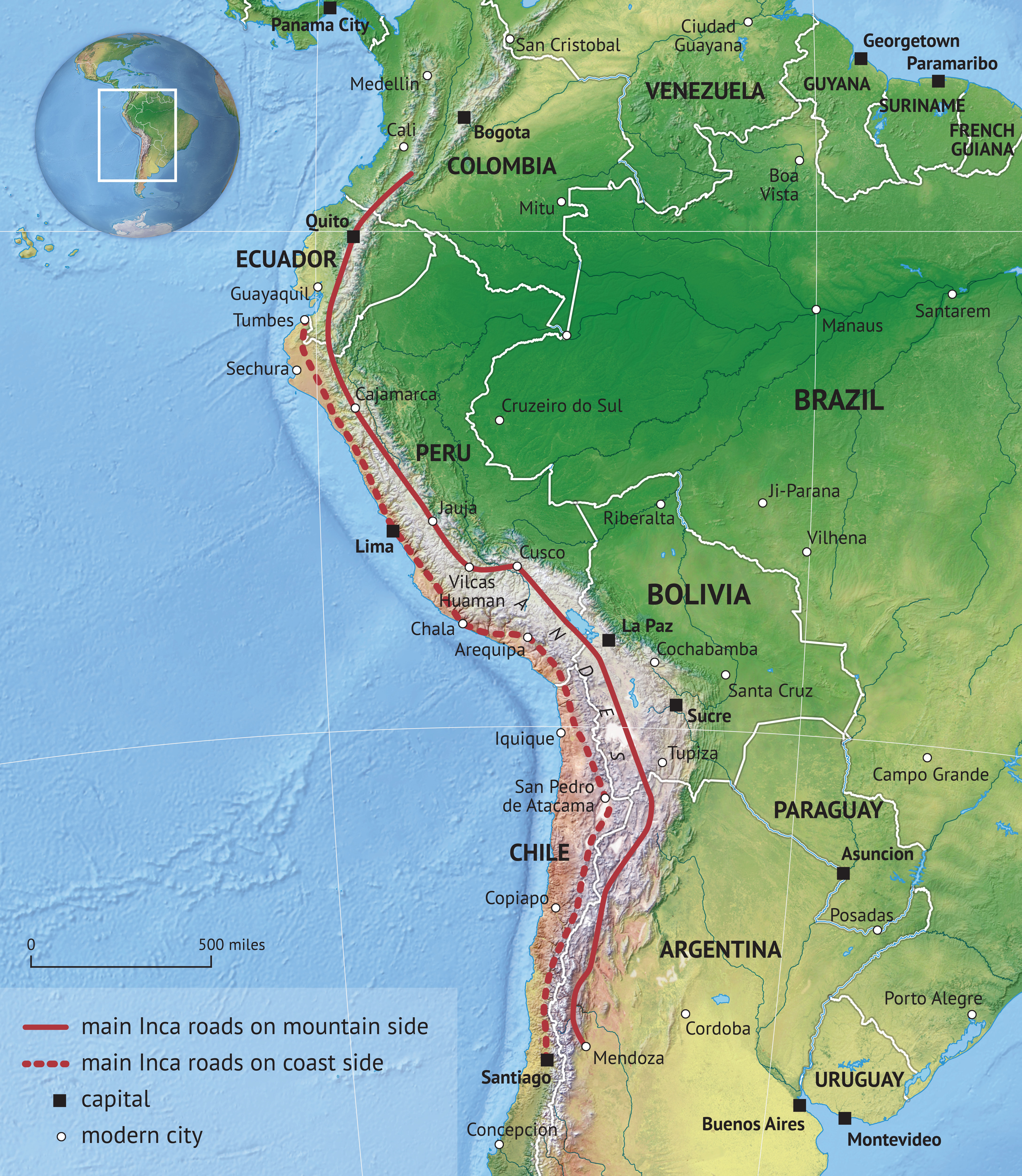 Inca road system - Wikipedia Map Route Of A Walk Across America Peter Jenkins Walked on