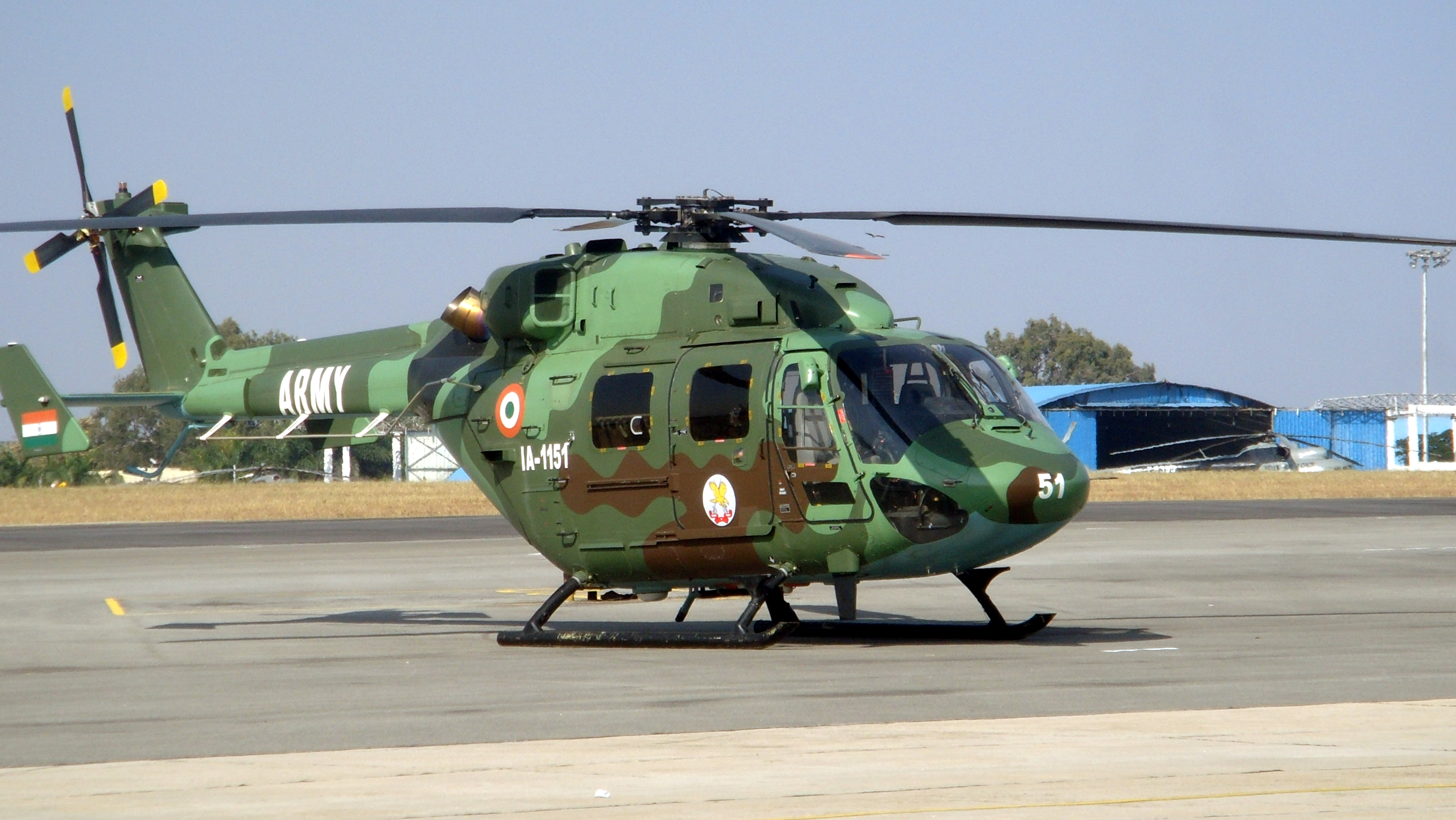 Description Indian Army Dhruv Helicopter at Aero India 2013.JPG