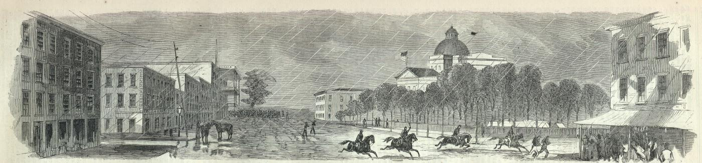 """Raising the Stars and Stripes Over the Capitol of the State of Mississippi"", engraving from Harper's Weekly, June 20, 1863, after the capture of Jackson by Union forces during the American Civil War Jackson-StarsAndStripesHarpers.jpg"