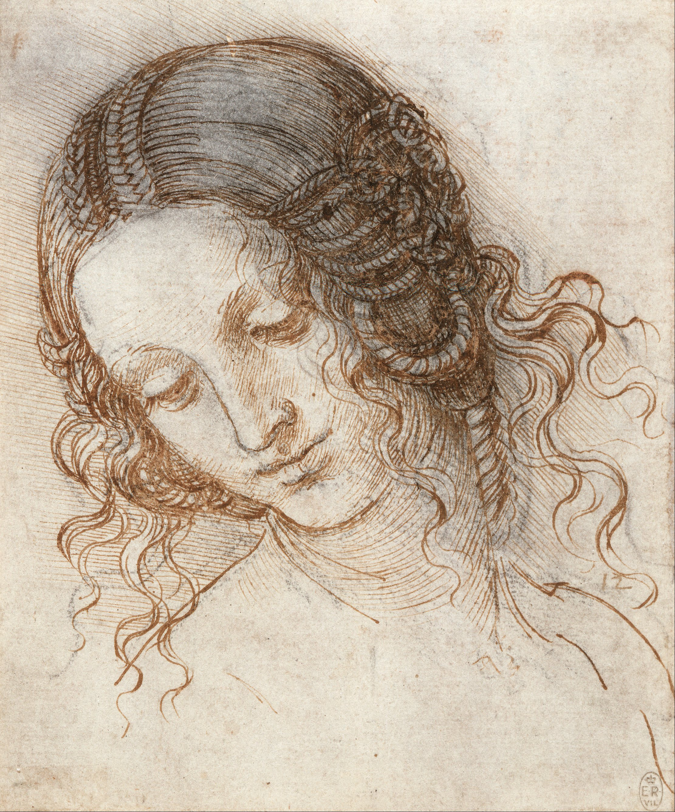 Contour Line Drawing Leonardo Da Vinci : File leonardo da vinci head of leda google art project