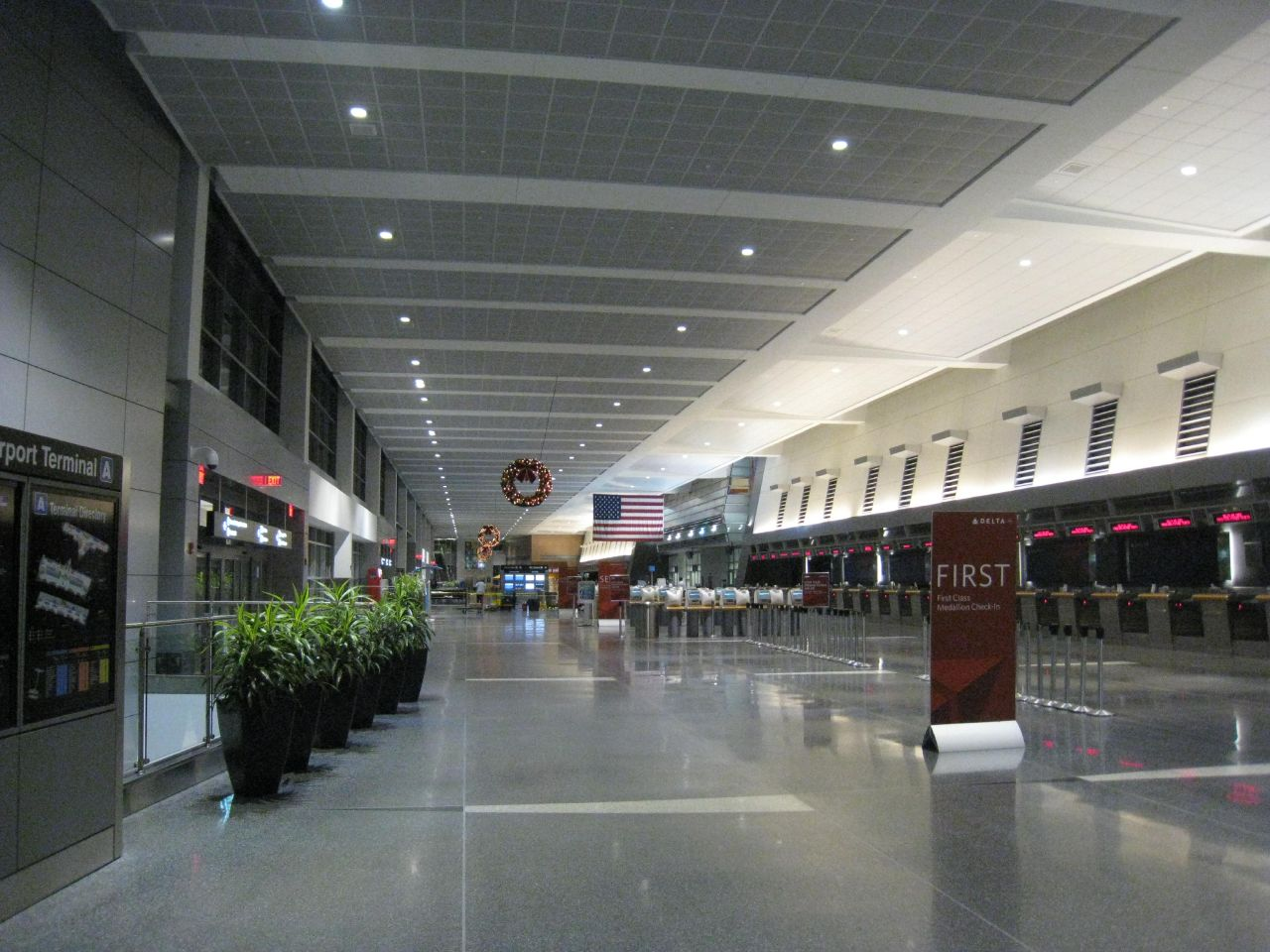 Ticketing hall of Terminal A at night