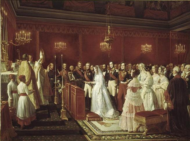 File:Marriage of the Duke of Nemours to Princess Victoria of Saxe-Coburg and Gotha at Saint Cloud by Henri Félix Emmanuel Philippoteaux.jpg