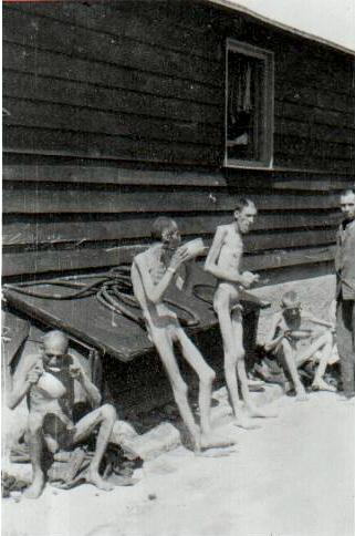 Survivors of Gusen shortly after their liberation - Mauthausen-Gusen concentration camp
