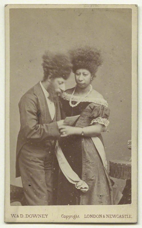"A photographic portrait of Maximo and Bartola, the two ""Aztec Lilliputians"", circa 1870."