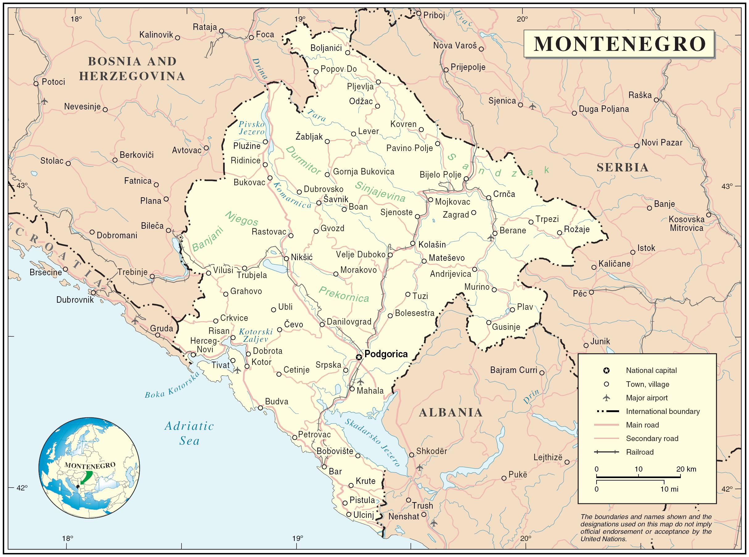 Bar Montenegro Karte.Geography Of Montenegro Wikipedia