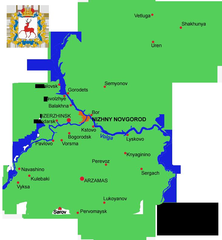 Nizhny Novgorod Russia  city pictures gallery : Map of Nizhny Novgorod Russia Map of Nizhny Novgorod Oblast