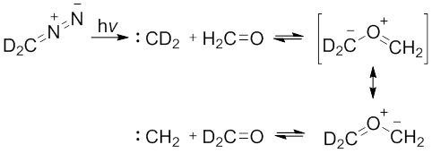 Scheme 2. Photolysis of Dideuteriodiazomethane with formaldehyde. Modified from Prakash, G. K. S.; Ellis, R. W.; Felberg, J. D.; Olah, G. A. J Am Chem Soc 1986, 108, 1341.