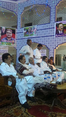 Politicians attending a meeting in Kunri