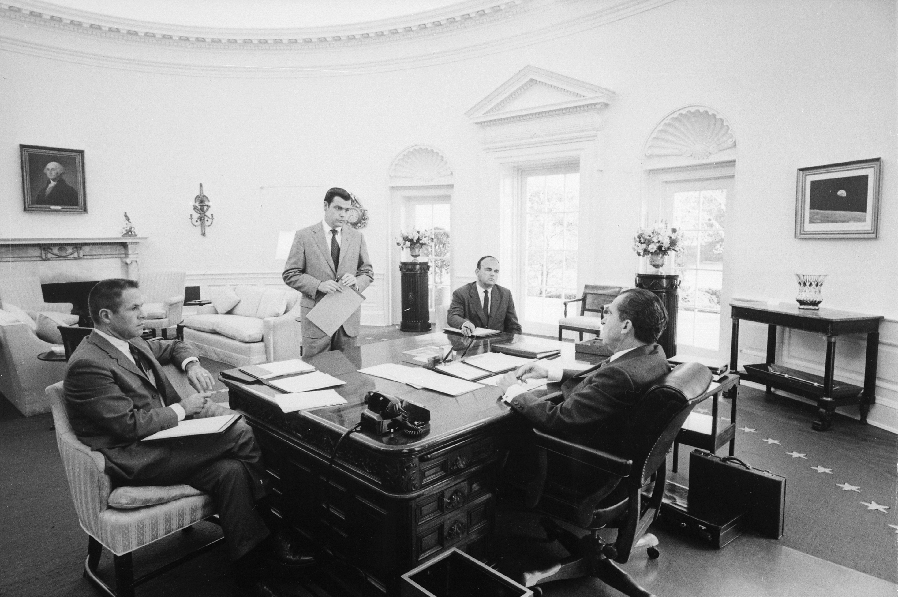 H.R. Haldeman, Dwight Chapin, John D. Ehrlichman, President Richard Nixon, March 1970