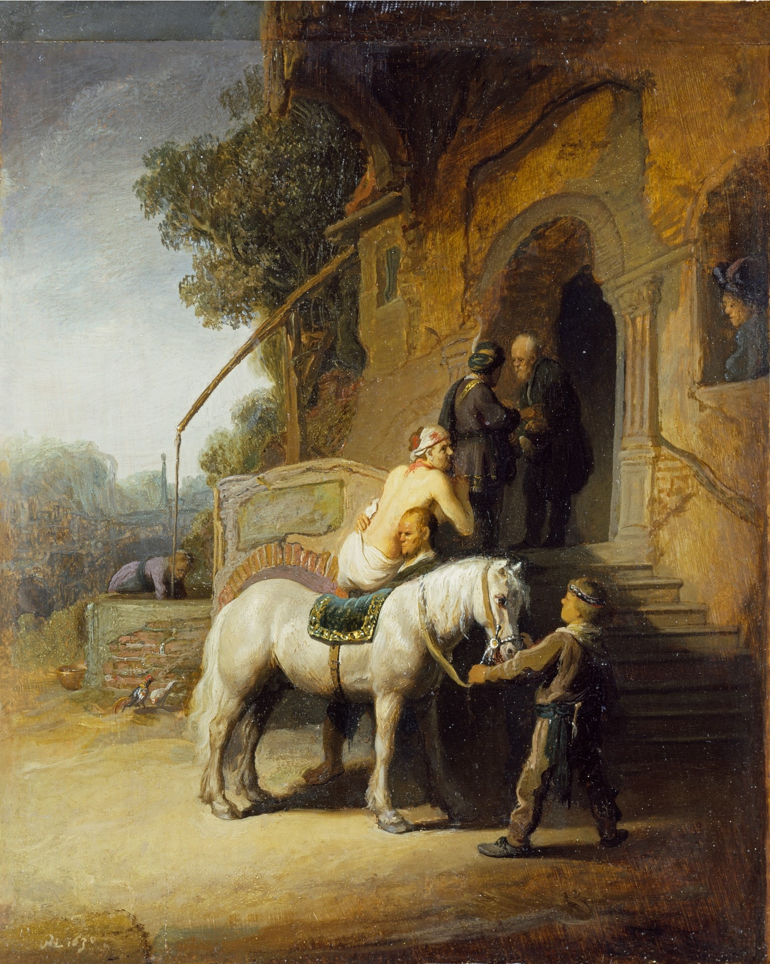 The Good Samaritan paying the innkeeper for the upkeep of the traveler