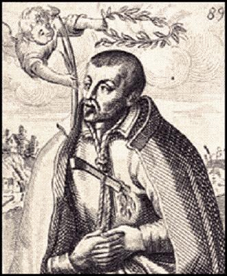 Saint Robert Southwell, S.J. (1561-1595). Illustration from the frontispice of Saint Peter's complaint.