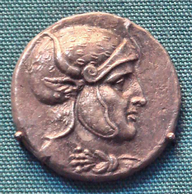 Silver Coin of Seleucos I, likely depicting a posthumous portrait of Alexander the Great.