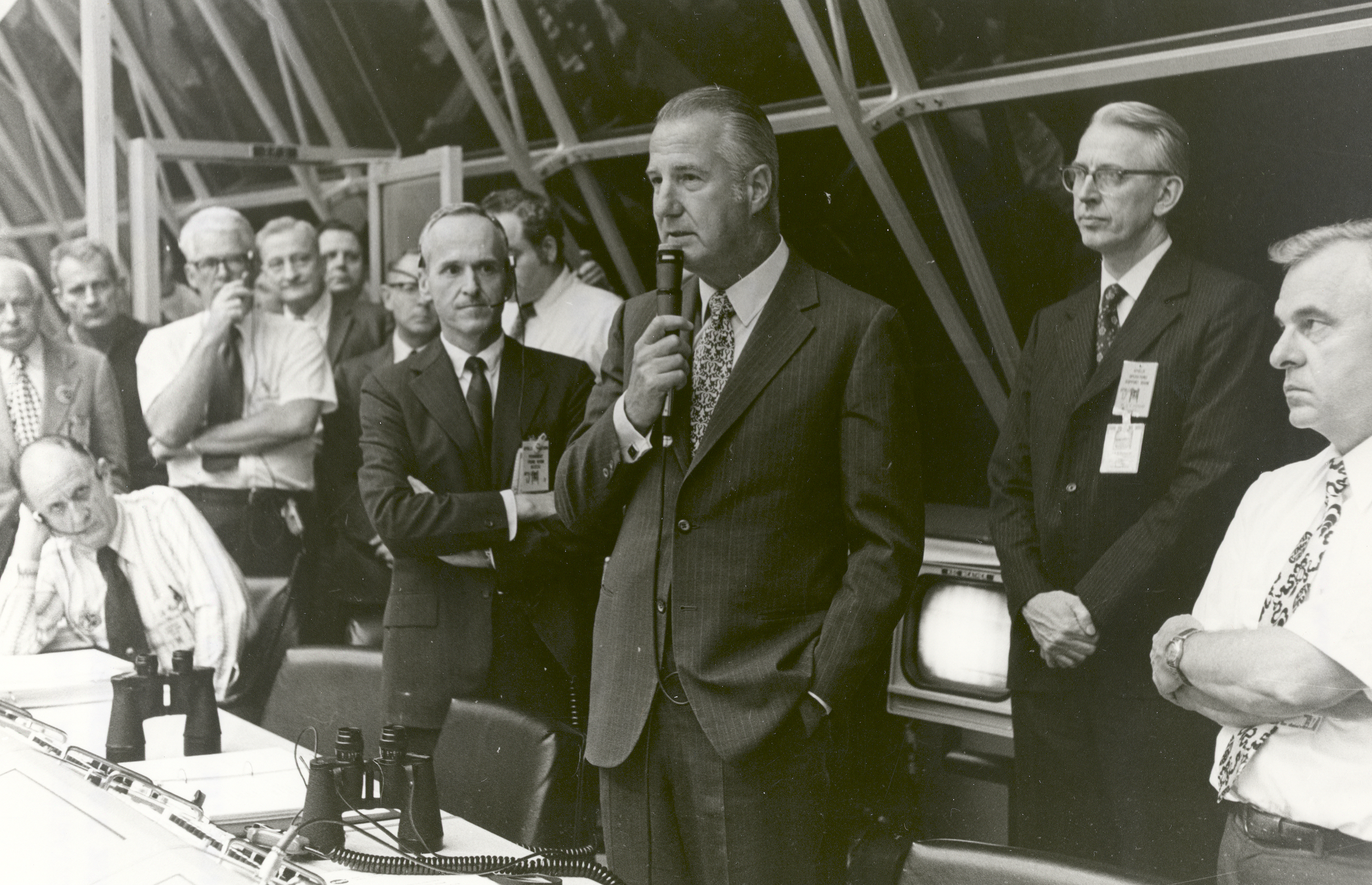 Vice President Spiro T. Agnew congratulates launch team personnel, in firing room #1 of launch control minutes after the successful launch of Apollo 17