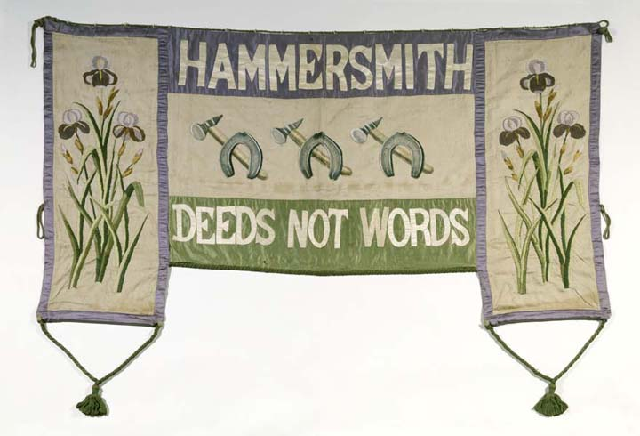 banner with flowers pictured on either side, wording top and bottom of centrepiece with illustration in the middle