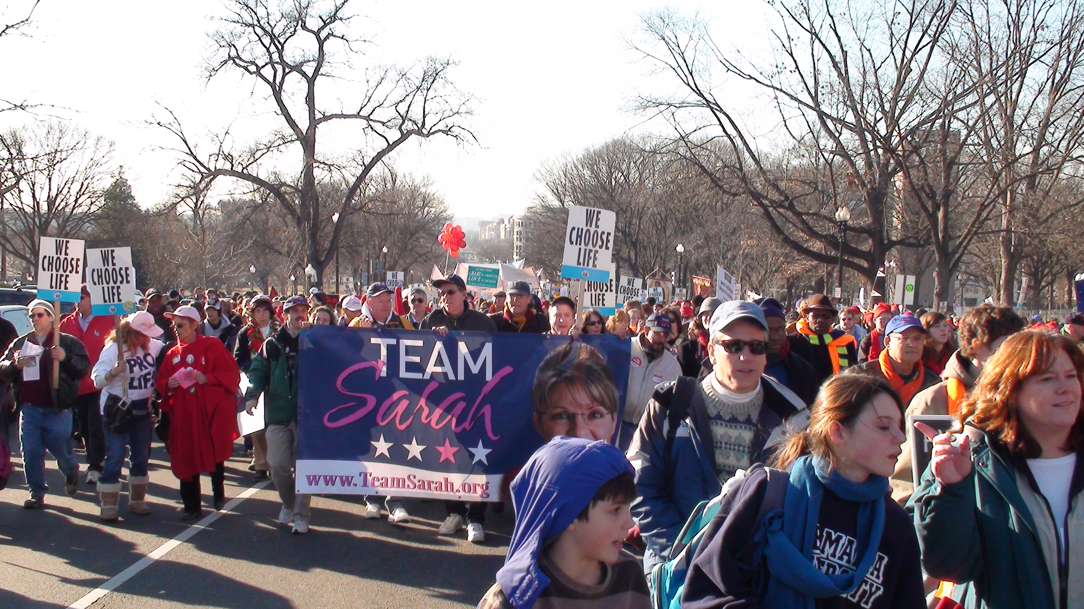 English: Team Sarah 2009 March for Life Washin...