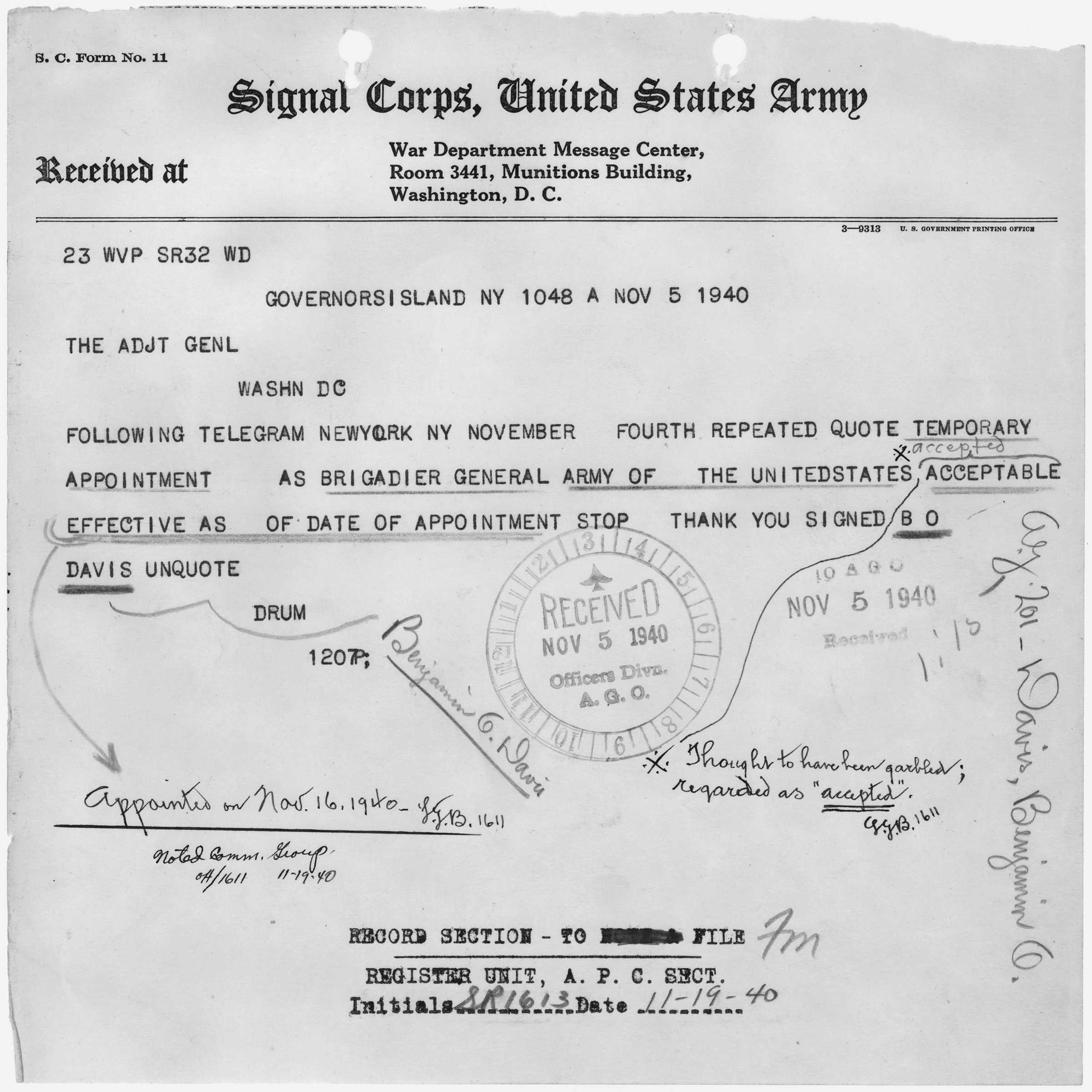 File:Telegram from B. O. Davis to The Adjutant General of the Army ...