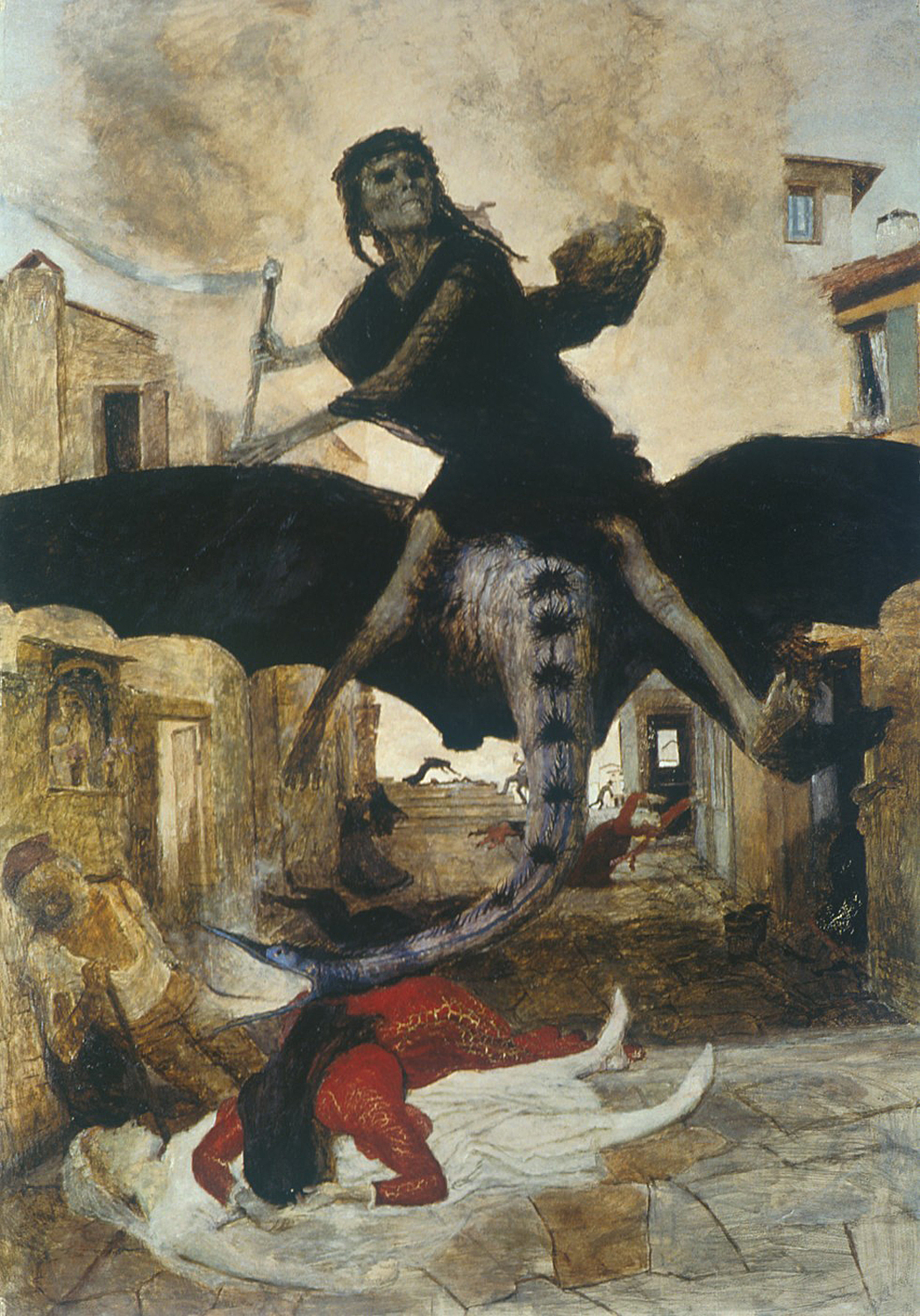 An image of Pestilence personnified as a man holding a scythe and riding a winged beast.