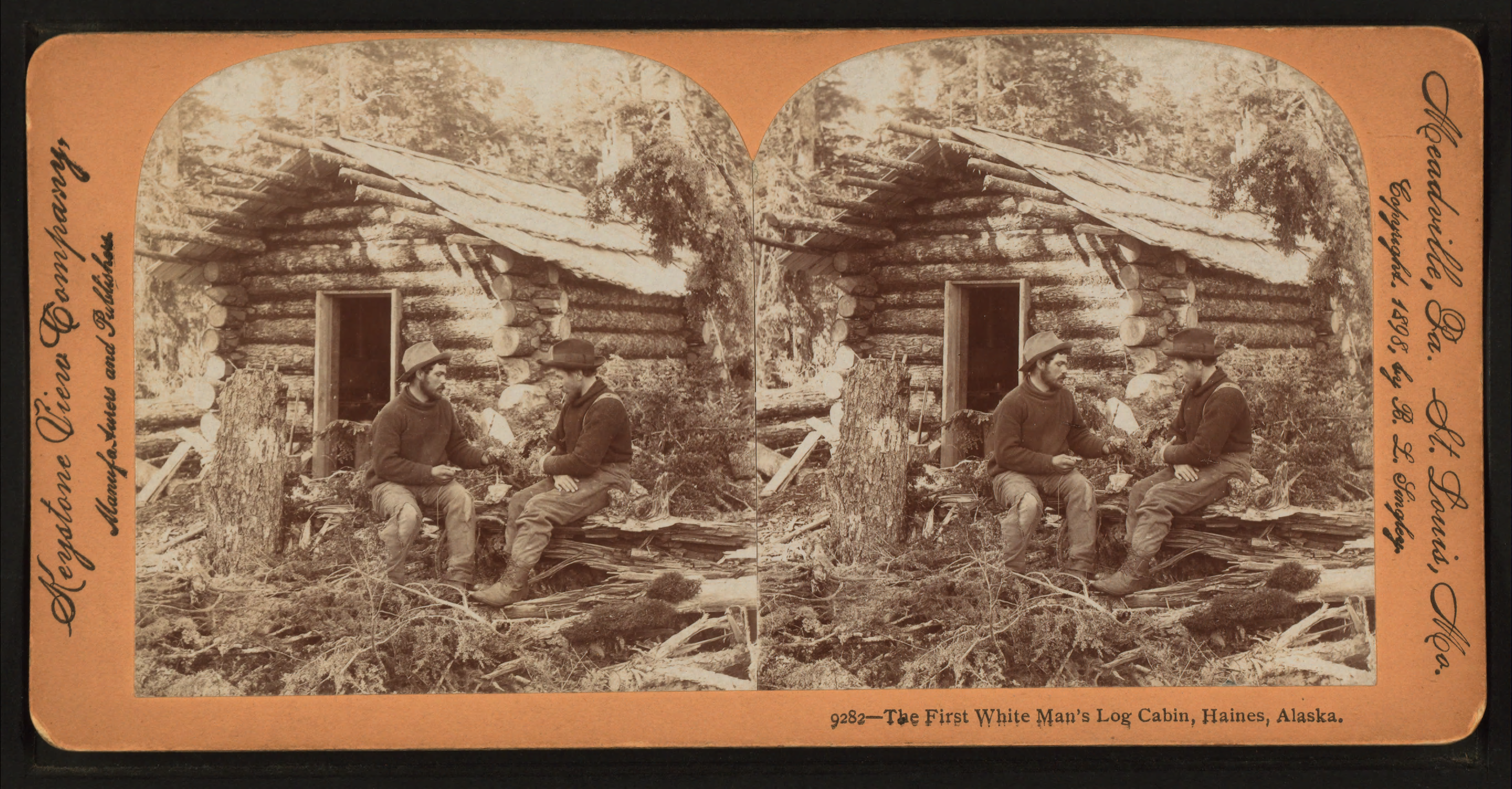File:The First White Man's Log Cabin Haines Alaska By Singley B. L . Full resolution  snapshot, nominally Width 2737 Height 1428 pixels, snapshot with #975C34.