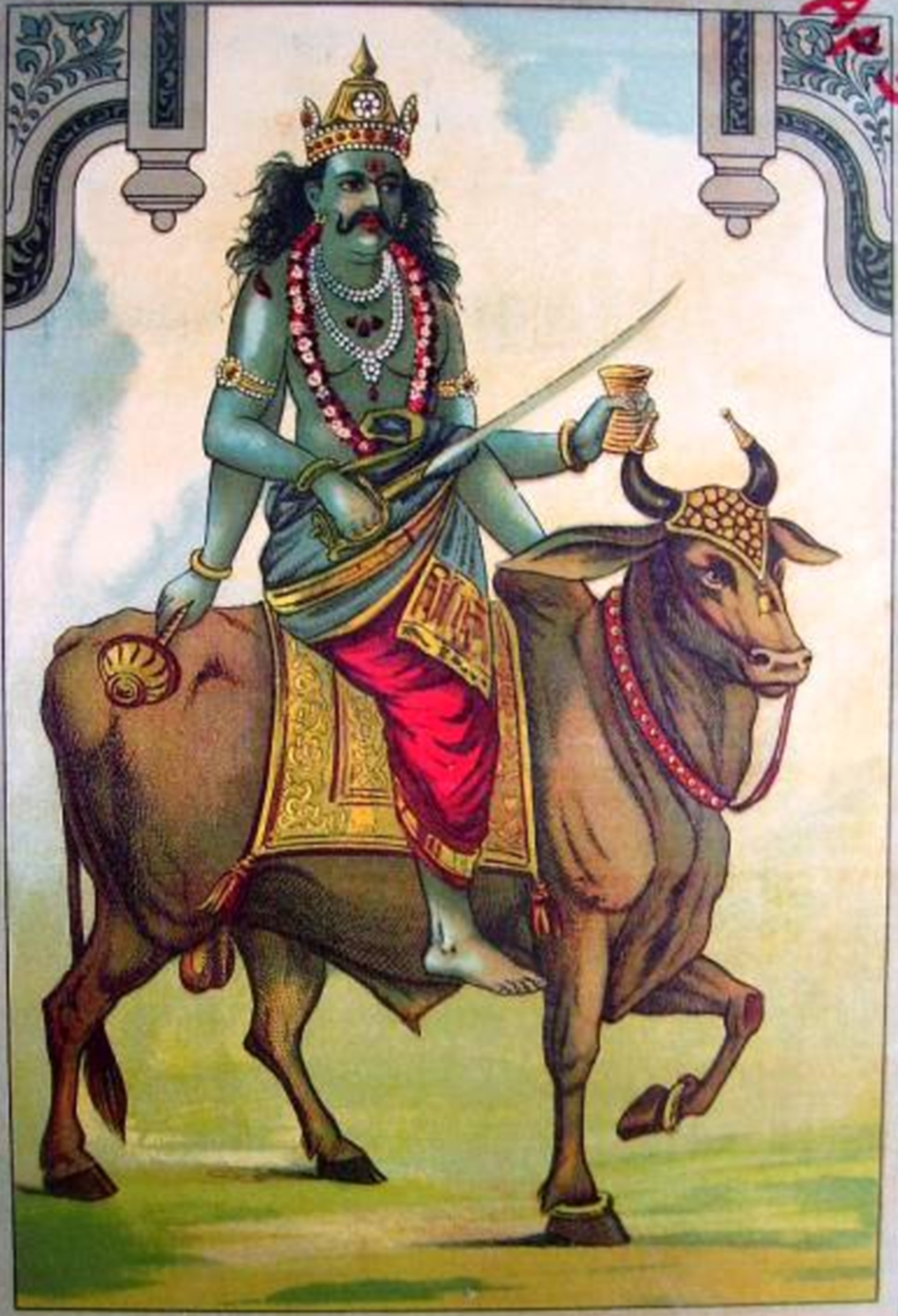 File The Inauspicious Shanidev Or Saturn Also Has A Bull For His Vehicle Jpg Wikimedia Commons