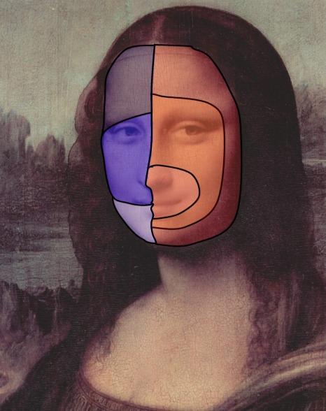 Mona Lisa mit Markierung der Versorgungsgebiete der drei Trigeminusäste