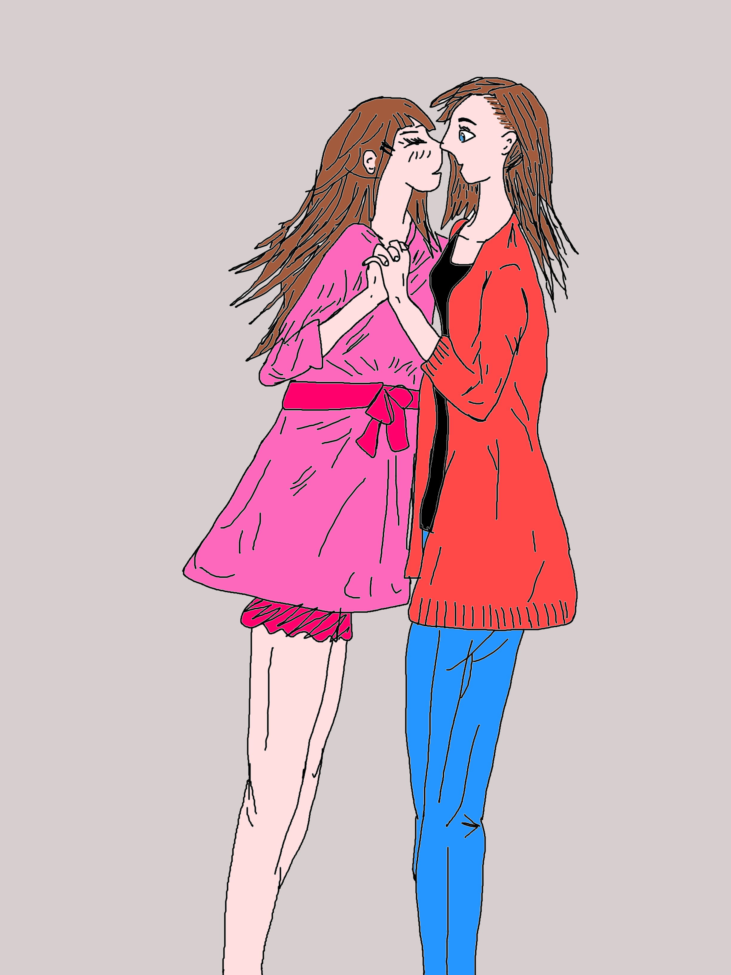 File Two Girls Kiss Draw Png Wikimedia Commons