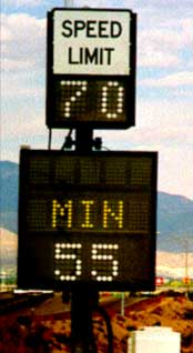 Example variable speed limit sign in the United States.