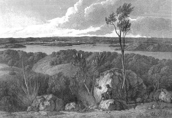 'n Kunstenaar se voorstelling van Port Jackson, die plek waar Sydney gestig is, soos gesien vanaf South Head. Uit A Voyage to Terra Australis