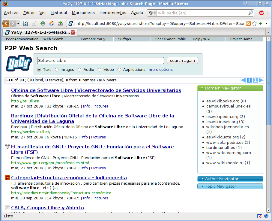 "earchresultsforthequery""softwarelibre"",usingayafreedistributedsearchenginethatrunsonapeer-to-peernetworkinsteadmakingrequeststocentralizedindexserverslikeoogle,ahoo,andothercorporatesearchengines"