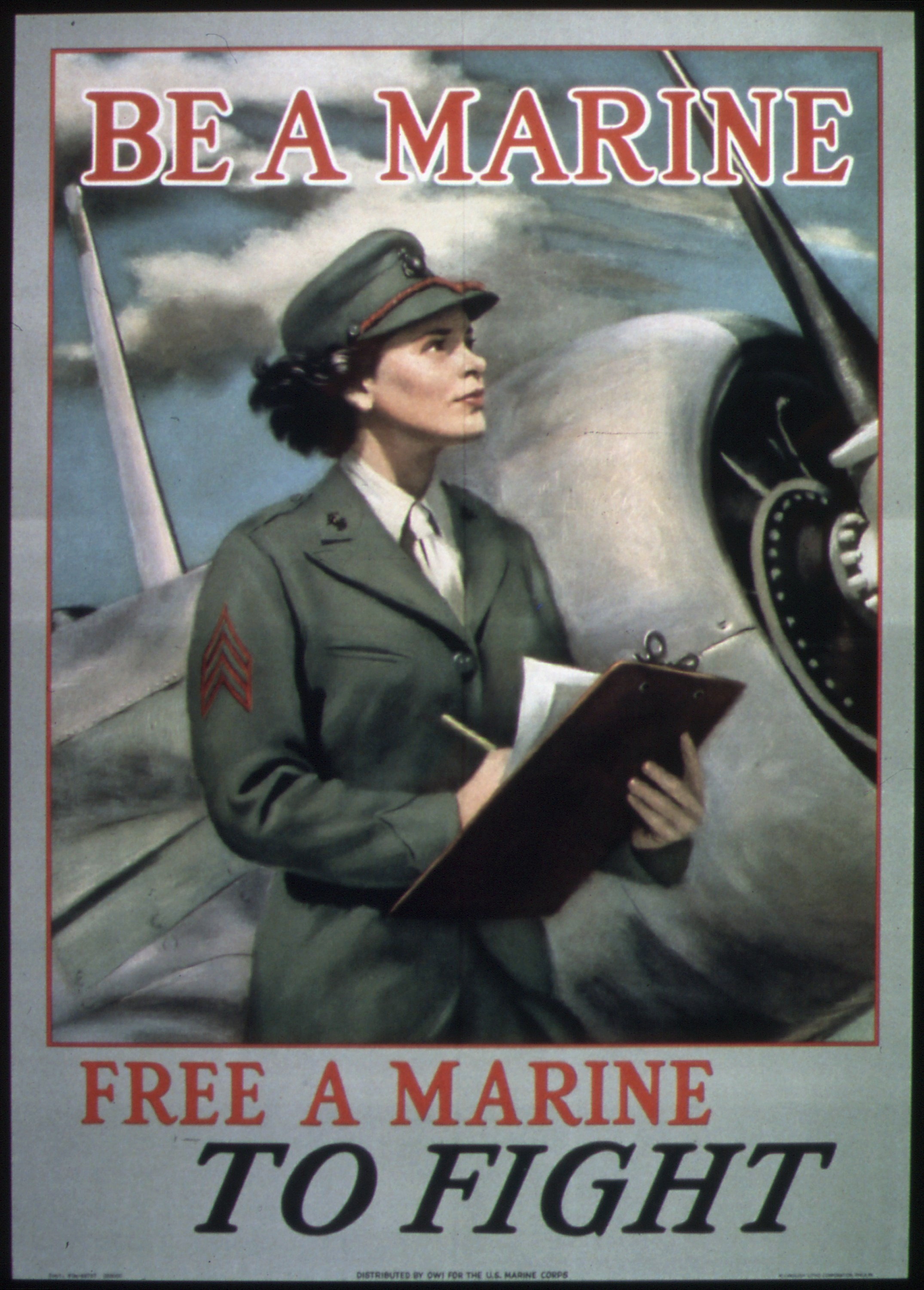 US Marine Corps World War II Want Action Recruitment Poster 1942