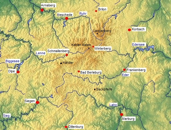 Sauerland Karte Berge.Rothaargebirge Wikipedia