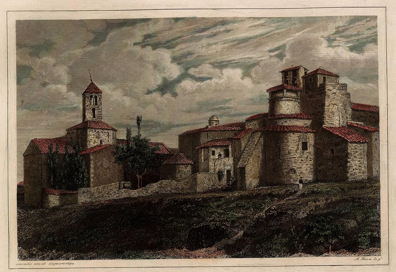 Grabado de Antonio Roca sobre la Seo de Egara en el siglo XIX