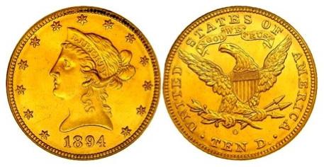 10 Dollar Eagle 1/4 Unze (916 / 22kt.) 8,48 Gr. <br>Quelle und copyright:Wikipedia 2011