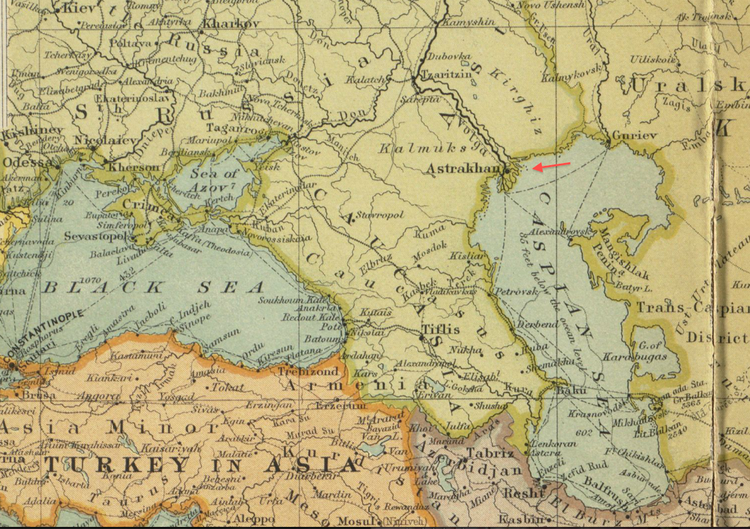 File1904 Astrakhan detail Map of the Far East by JG Bartholomew BPL