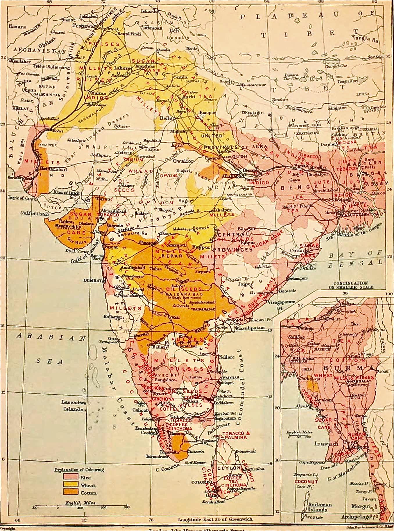 file1911 map of british india showing crop land dedicated to opium jute indigo sugarcane