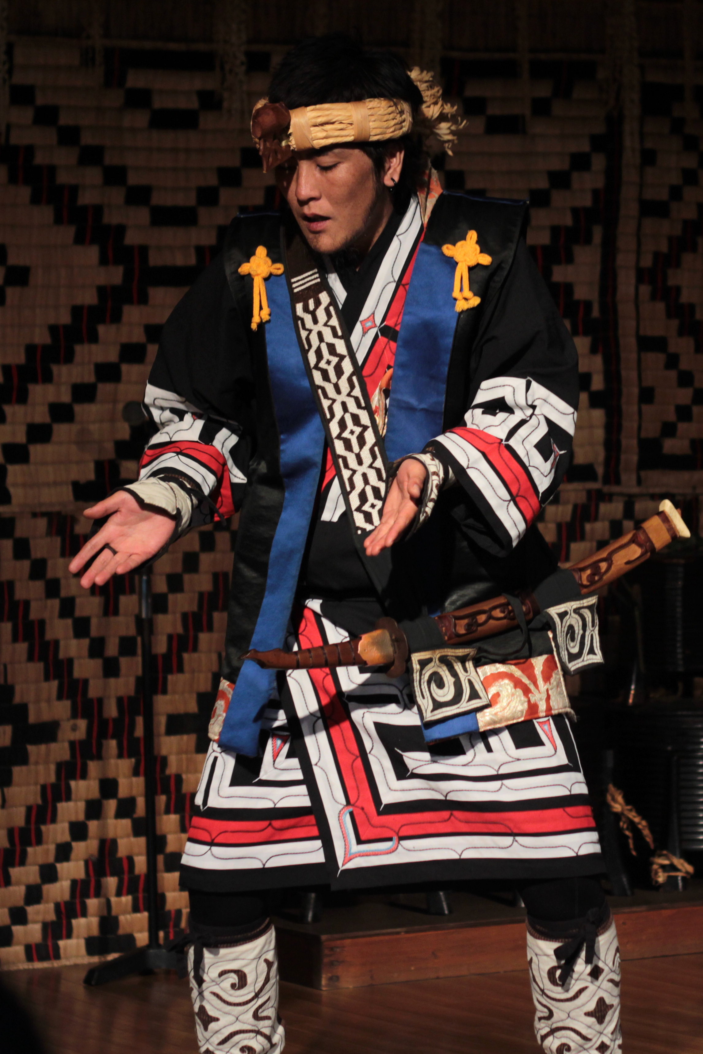 Ainu Man Performing Traditional Dance in Shiraoi, Hokkaido, Japan